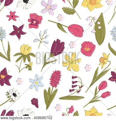 Botanical Pattern Isolated On White Background. Floral Retro Square Seamless. Trendy Modern Print Wi