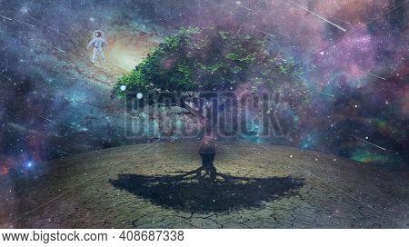 Astronaut hovers above strange planet. Tree in desolate landscape. Sci-fi art. 3D rendering