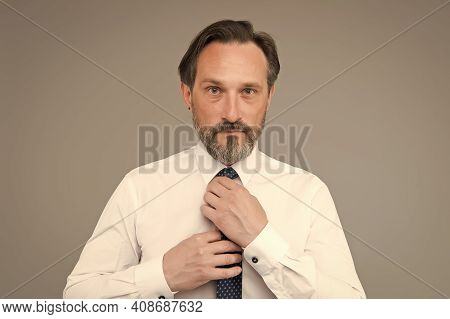Fashion Shop. Mature Face With Beard Close Up Example Of Classy. Man Handsome Confident Mature Fashi