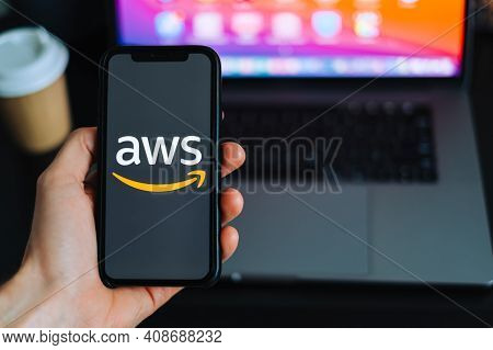 Amazon Web Services Logo On The Smartphone Screen. Rostov-on-don, Russia. 15 February 2021