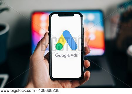 Google Ads Logo On Smartphone Screen In Hand. Rostov-on-don, Russia. 15 February 2021