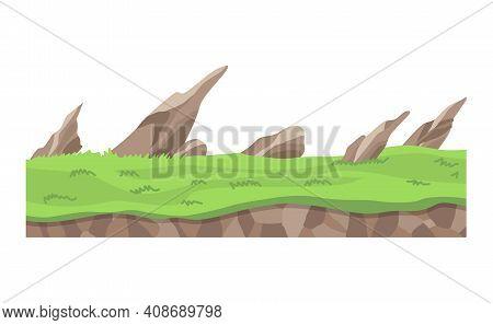 Game Landscape. Cartoon Design Nature. Landscape Of Soil Section. Illustration Of Cross Section Grou
