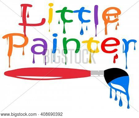 Little Painter and Wet Paint Brush with Clipping Path Illustration Isolated on White Background.