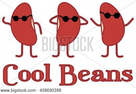 Cool Beans Funny Kidney Bean People Wearing Sunglasses Illustration with Clipping Path Isolated on White.