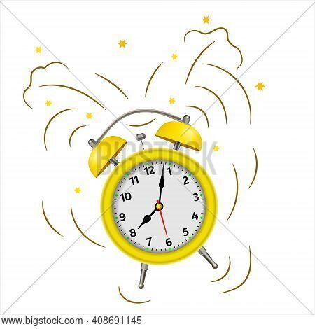 Alarm Clock Wake-up Time Morning Isolated On White Background. Yellow Alarm Clock Set At One Close-u