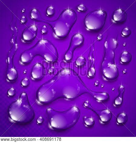 Water Drops Set Vector Realistic 3D Elements Collection, Transparent Dew Condensation Drops Over Tra