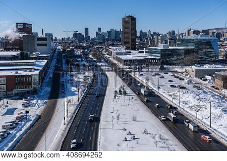 Montreal, Ca - 17 February 2021: View Of Montreal Skyline From Jacques Cartier Bridge