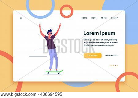 Stylish Skater In Jeans And Sneakers. Skateboarding Flat Vector Illustration. Leisure Concept For Ba