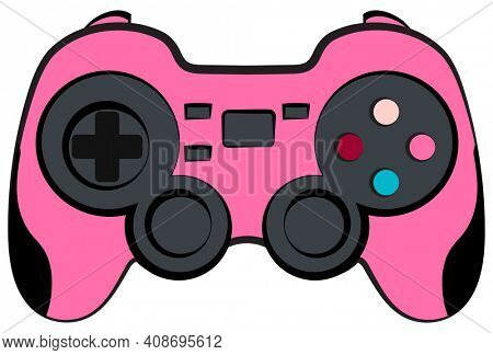 Pink Console Game Controller with Clipping Path on White.