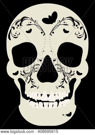 Day of the Dead Skull with Moths and Vines with Clipping Path on Black