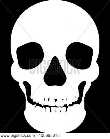 White Human Skull Silhouette on Black with Clipping Path.