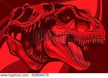Tyrannosaurus Rex With Skull Fossil Vector Illustration Design