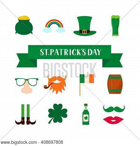 St. Patricks Day Symbol Icons And Photo Booth Props Set Green Hat, Shamrock, Treasure Of Leprechaun,