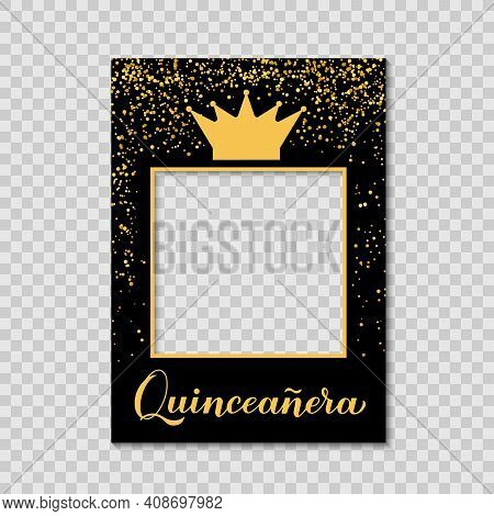 Quinceannera Photo Booth Frame On A Transparent Background. 15th Birthday Party Photobooth Props. Bl