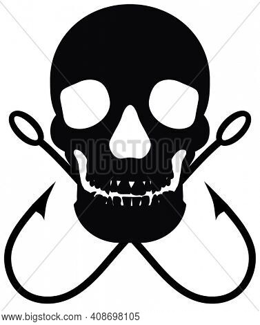 Human Skull and Fishing Hooks with Clipping Path Black Silhouette on White.