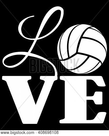 Love with Volleyball for O with clipping path over black background. White Sillhouette.