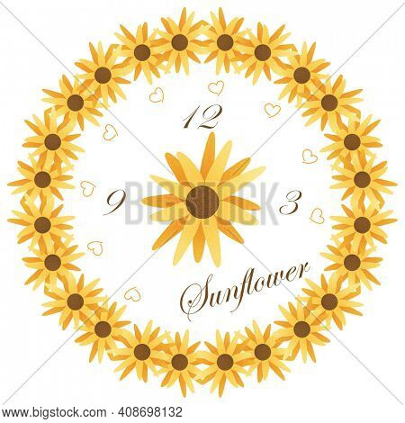 Sunflower Clock Face Illustration with Clipping Path over White.