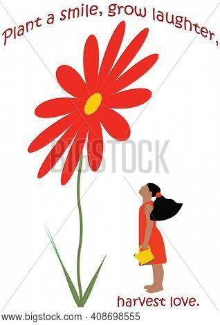 Little Girl in Red  Dress Watering a Giant Flower