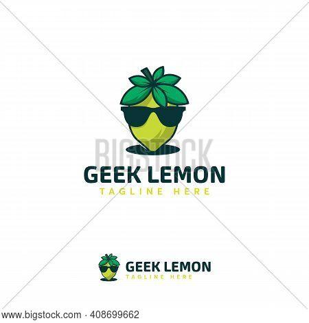 Cool Geek Lemon Logo Designs Template, Lemon Fruit Logo Designs, Lime Symbol