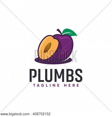 Cartoon Plum Fruit Logo Designs Vector, Illustration Of Plum Fruit Vector Template