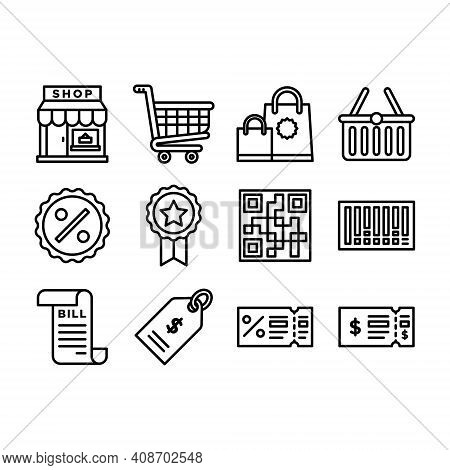 Retail Shopping Icons Set Outline Isolated On White Background. Retail Shopping Icons Sign. Retail S