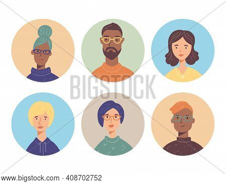 Set Of Young People Charactar Avatars With Different Hair, Clothes, Glasses. People Have Smiling Fac