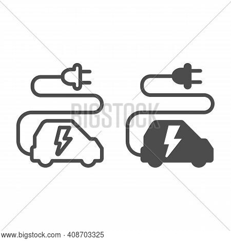 Car And Cord With Plug Line And Solid Icon, Electric Car Concept, Ecological Transport Sign On White