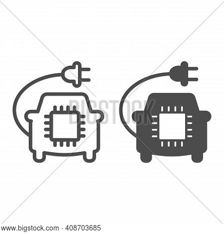 Car With Plug And Processor Chip Line And Solid Icon, Electric Car Concept, Car Circuit Board Sign O