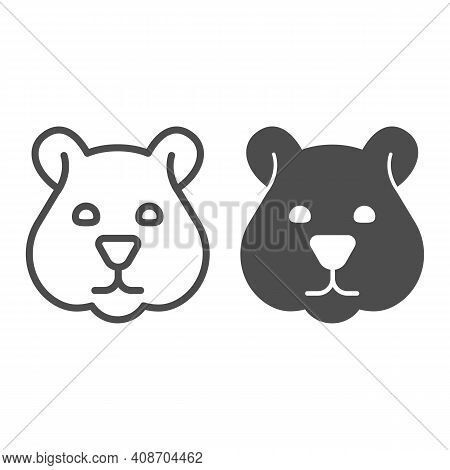 Hamster Head Line And Solid Icon, Domestic Animals Concept, Rodent Silhouette Sign On White Backgrou