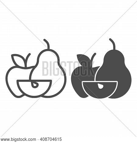 Apple With Pear And Apple Slice Line And Solid Icon, Thanksgiving Day Concept, Harvest Fruit Composi