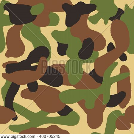 Green Khaki Camouflage Camo Seamless Pattern. Military Army Design, Textile For Masking Hiding Hunti