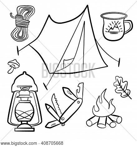 Set Of Doodle Forest Camping Design Elements. Hand Drawn Hiking And Camping Doodles Perfect For Summ