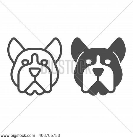 Bulldog Head Line And Solid Icon, Domestic Animals Concept, Dog Sign On White Background, Angry Bull
