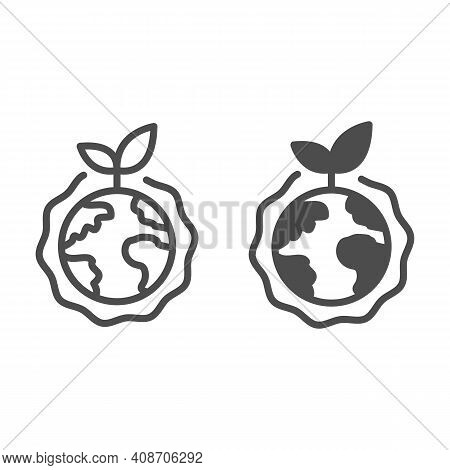 Planet With Plant And Ozone Layer Line And Solid Icon, Electric Car Concept, Green Earth Sign On Whi