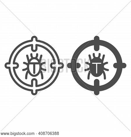 Bug In Target Line And Solid Icon, Web Security Concept, Antivirus Sign On White Background, Insect