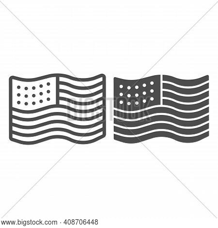 American Flag Line And Solid Icon, Thanksgiving Day Concept, Flag Of United States Sign On White Bac