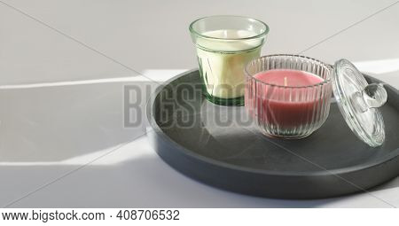 Scented Candles On A Concrete Tray. Fragrances For Cozy Home. Soy Candles In Glass. Comfort In House