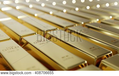 Shiny Pure Gold Bars In A Row Background. Wealth And Economic Concept. Business Gold Future Investme