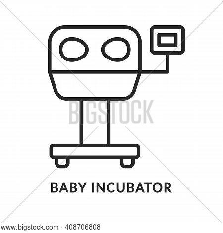 Baby Incubator Flat Line Icon. Vector Illustration Intensive Care Unit. Medical Equipment