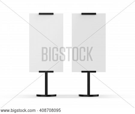 Outdoor Advertising Pos Poi Stand Banner Or Lightbox, Mockup Template On Isolated White Background,