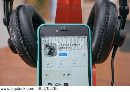 Bangkok, Thailand - February 18, 2021: Clubhouse Drop In Audio Chat Application View On The Smartpho