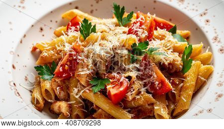 Pasta Penne With Tomato Bolognese Sauce, Chicken Meat, Parmesan Cheese. Italian Food. Food Recipe Ba