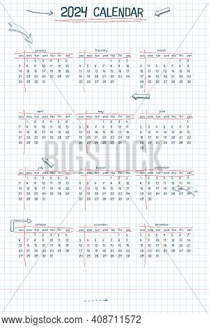 2024 Calendar Weekly Planner And To Do List. Hand Drawn Font Type Text And Elements, School Note Sty