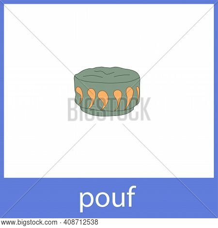 Pouf. Cushioned Furniture. English Vocabulary Word Card.