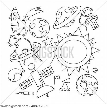 Hand Draw Space Illustration With A Rocket, Astronaut, Planets And Aliens. Cute, Children S Vector D