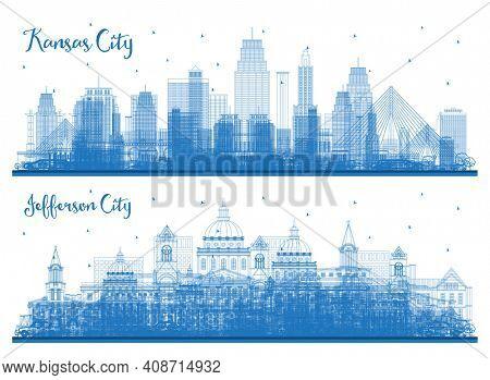 Outline Jefferson City and Kansas City Missouri Skyline Set with Blue Buildings.