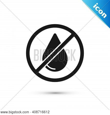 Grey Water Drop Forbidden Icon Isolated On White Background. No Water Sign. Vector