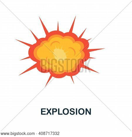 Explosion Flat Icon. Color Simple Element From Weapon Collection. Creative Explosion Icon For Web De