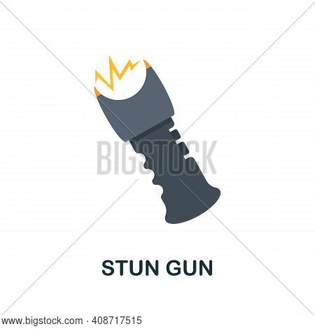 Stun Gun Flat Icon. Color Simple Element From Weapon Collection. Creative Stun Gun Icon For Web Desi
