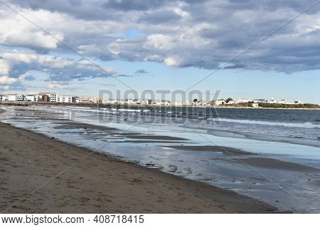 Hampton, Nh - Oct 3: Beach At Hampton Beach State Park In Hampton, New Hampshire, As Seen On Oct 3,